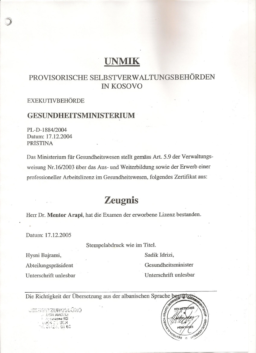 Staatsexamen In Human Medizin UNI Pristina